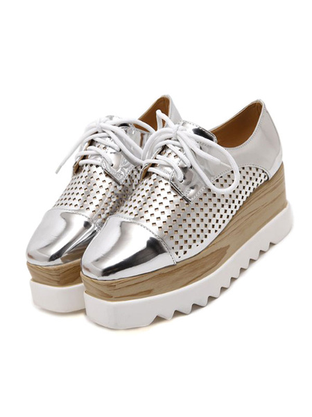 Milanoo Trendy Oxfords Round Toe PU Leather Front Lace Flatform Oxford Shoes