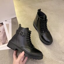 Buckle Lace-up Combat Boots