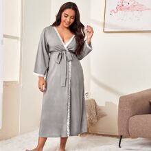 Plus Lace Trim Belted Robe