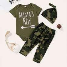 Baby Boy Letter Graphic Bodysuit & Camo Sweatpants & Hat