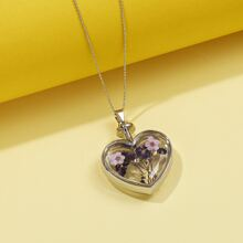 Dried Flower Heart Charm Necklace