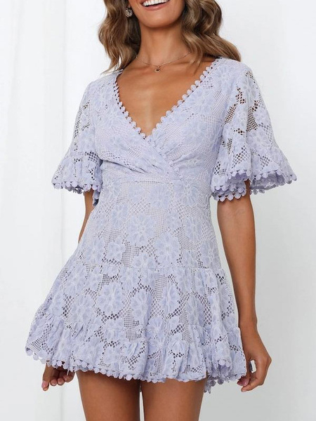 Milanoo Lace Dresses V Neck Butterfly Sleeve Sexy Dresses