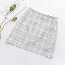 Plaid Split Front Mini Straight Skirt