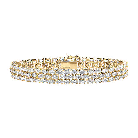 DiamonArt White Cubic Zirconia 18K Gold Over Brass 8 1/2 Inch Tennis Bracelet, One Size , No Color Family