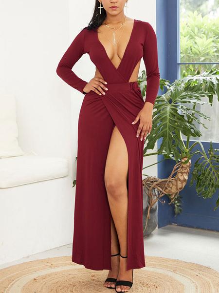 Milanoo Vestido largo Color borgoña Moda Mujer Color liso con manga larga Vestidos de algodon mezclado con cuello en V Verano Dating