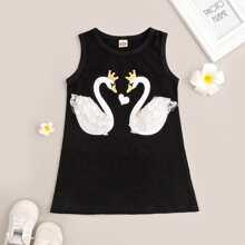 Baby Girl Lace Panel Swan Print Tank Dress