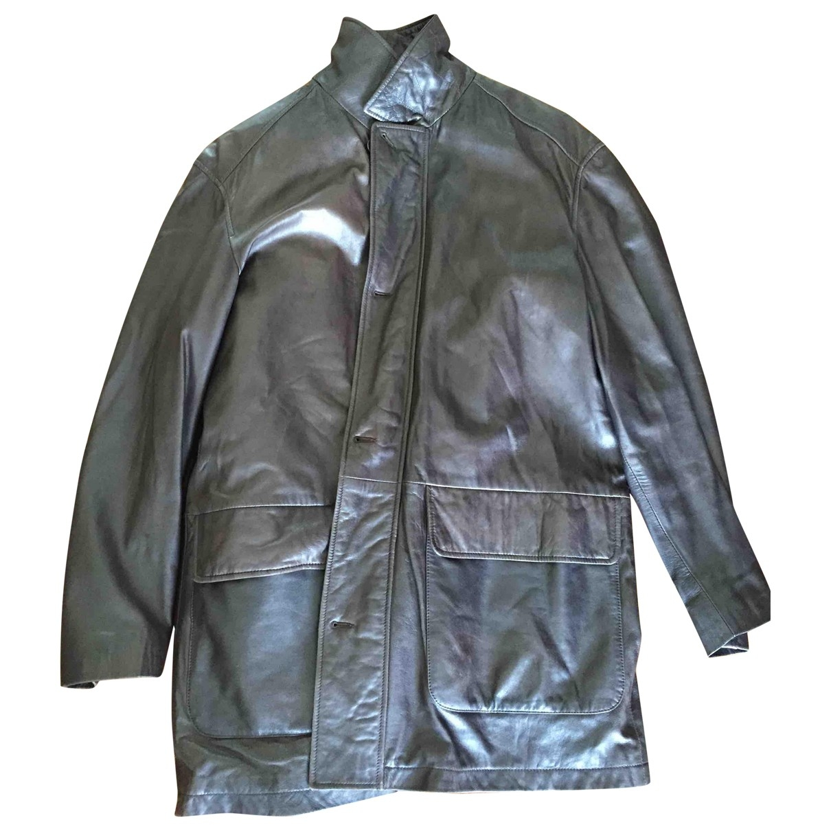 Faconnable \N Brown Leather jacket  for Men XL International