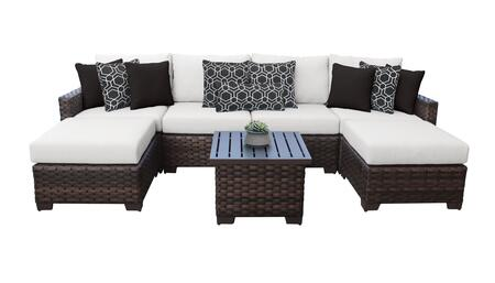 RIVER-07a-WHITE Kathy Ireland Homes and Gardens River Brook 7-Piece Wicker Patio Set 07a - 1 Set of Truffle and 1 Set of Alabaster