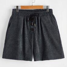 Corduroy Button Drawstring Shorts