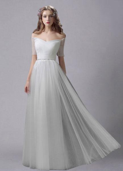Milanoo Vestido de novia de tul con escote de hombros caidos y cuentas hasta el suelo