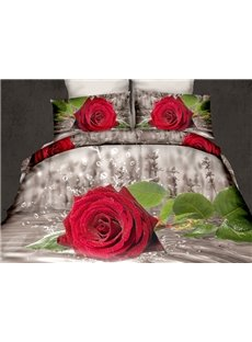 3D Red Rose with Waterdrops Printed Cotton 4-Piece Bedding Sets/Duvet Covers