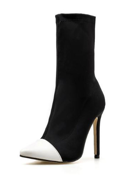 Milanoo Black Sock Boots Women Pointed Toe High Heel Stretch Booties Ankle Boots