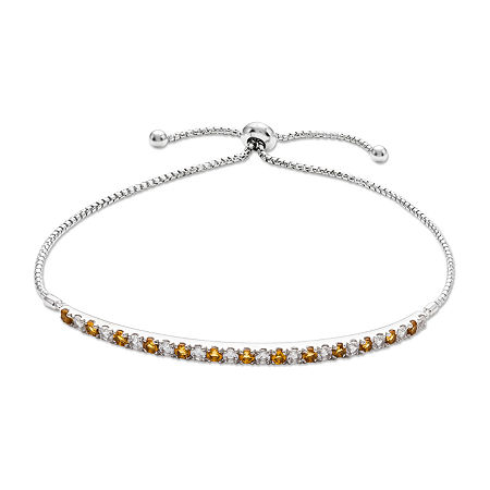 Genuine Yellow Citrine Sterling Silver Bolo Bracelet, One Size , No Color Family