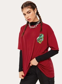 Chinese Dragon Graphic Oversized Tee