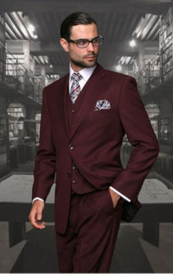 Statement Men's Burgundy Wine 2 Button Modern Fit Wool Suit