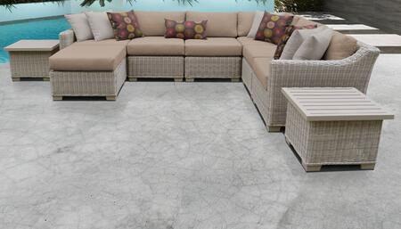 Coast Collection COAST-09c-WHEAT 9-Piece Patio Set 09c with 1 Corner Chair   3 Armless Chair   1 Ottoman   2 End Table   1 Left Arm Chair   1 Right