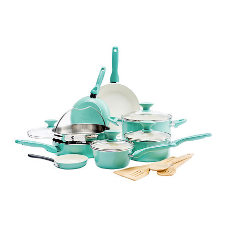 GreenPan Rio Ceramic 16-pc. Aluminum Dishwasher Safe Non-Stick Cookware Set, One Size , Green