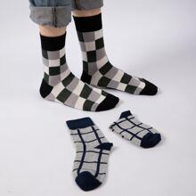 2 pares calcetines de cuadros de hombres