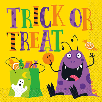 Trick Or Treat Beverage Napkins for Home Party Decor, 16Pcs/Pack