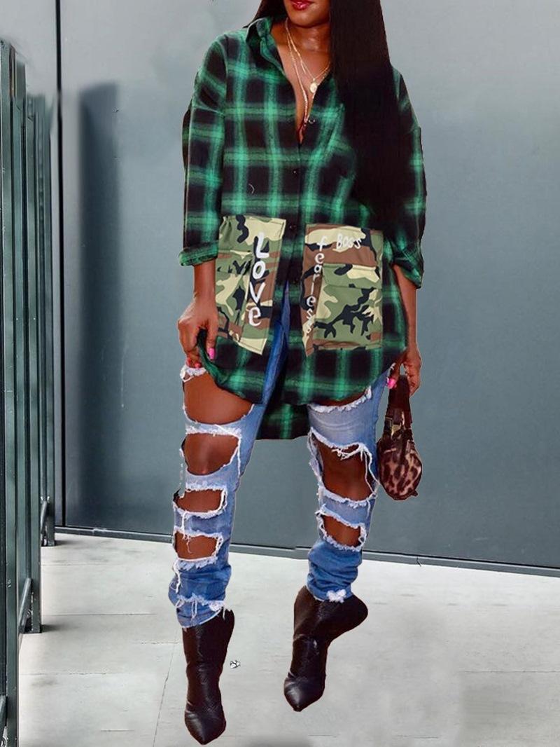 Ericdress Lapel Regular Plaid Mid-Length Women's Long Sleeve Blouse