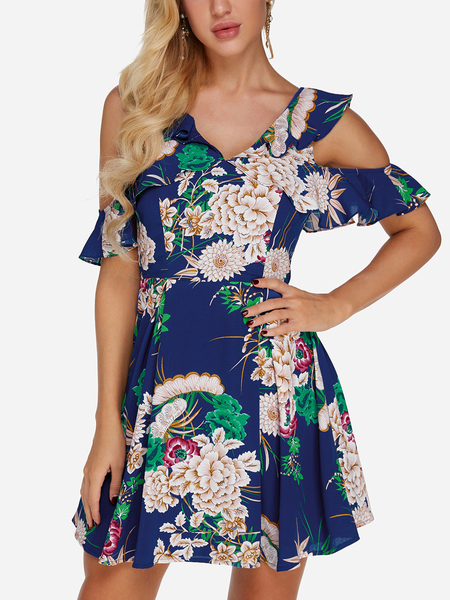 Yoins Navy Backless Design Random Floral Print Cold Shoulder Dress