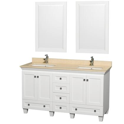 WCV800060DWHIVUNSM24 60 in. Double Bathroom Vanity in White  Ivory Marble Countertop  Undermount Square Sink  and 24 in.