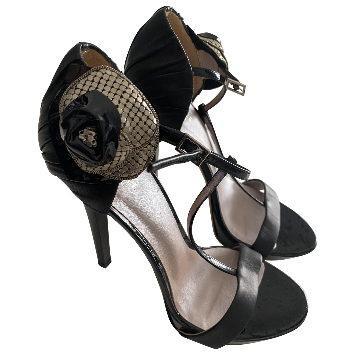 Versace - Sandales   pour femme en cuir - noir