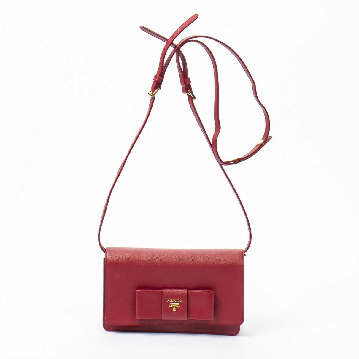 Prada Ribbon Handtasche in  Rot Leder