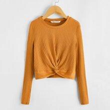 Girls Twist Hem Rib-knit Tee