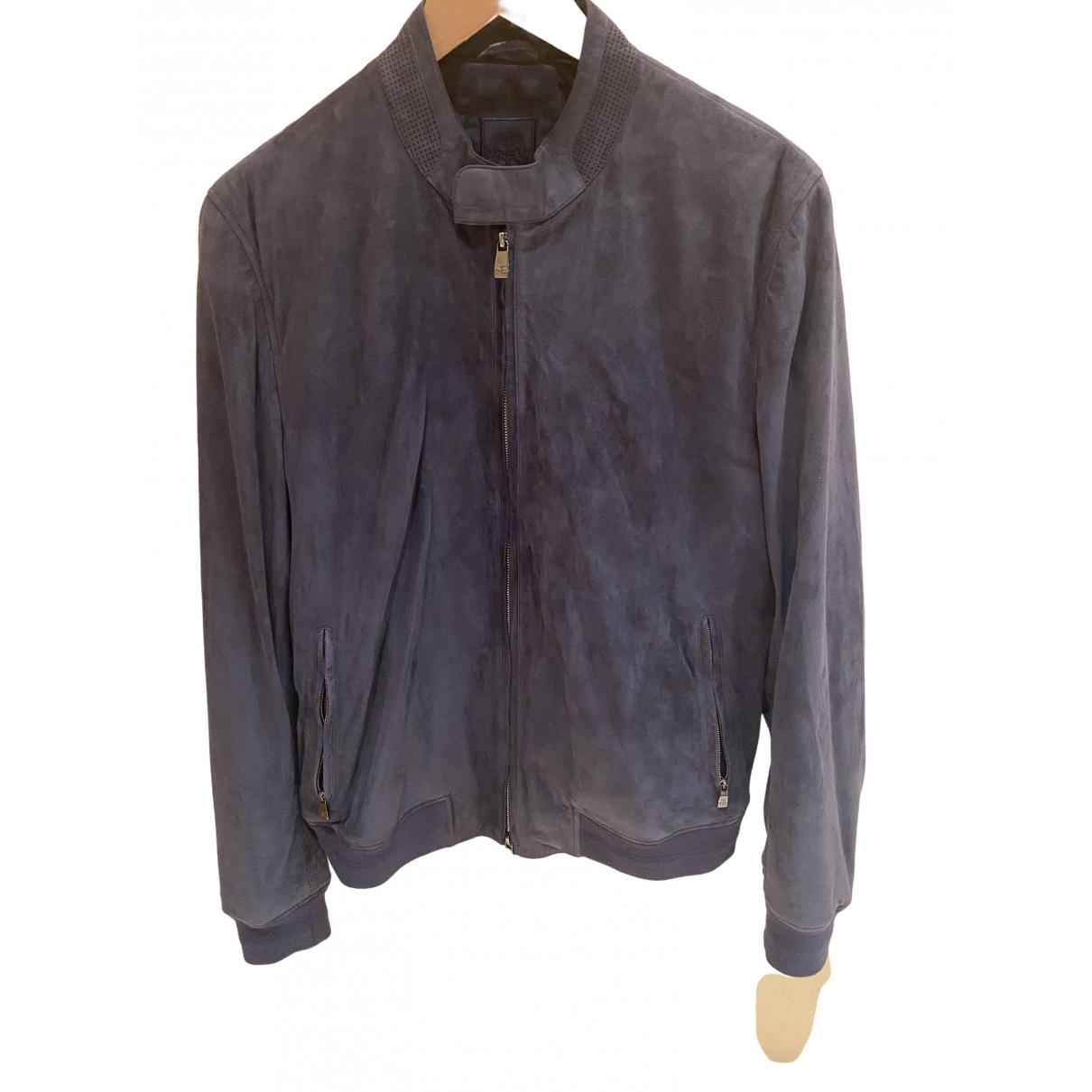 Corneliani \N Blue Leather jacket  for Men 48 IT