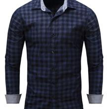 Denim Hemd mit Karo Muster und Knopfen