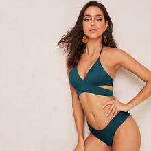 Bikini Badeanzug mit Wickel Design, Neckholder und hohem Ausschnitt