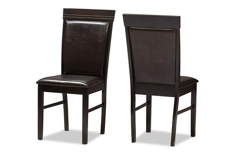 Thea Collection RH131C-DARK BROWN-DC Set of 2 Dining Chairs with Tapered Legs  Footrest Support  Solid Rubberwood Construction and Faux Leather