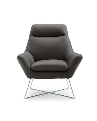 Daiana Collection CH1352L-DGRY Chair with Flared Armrest  Modern Style  X-Shaped Base  Stainless Steel Legs and Top Grain Italian Leather Upholstery