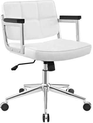 Portray Collection EEI-2686-WHI Office Chair with Adjustable Height  Swivel Seat  Five Dual-Wheel Nylon Casters  Chrome Aluminum Frame and Vinyl