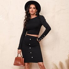 Button Detail Rib-knit Crop Tee and Skirt Set