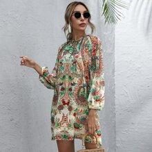 Floral Print Tie Neck Tunic Dress