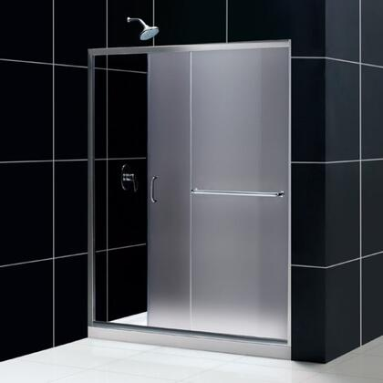 DL-6973C-04FR Infinity-Z 36 In. D X 60 In. W X 74 3/4 In. H Frosted Sliding Shower Door In Brushed Nickel And Center Drain White