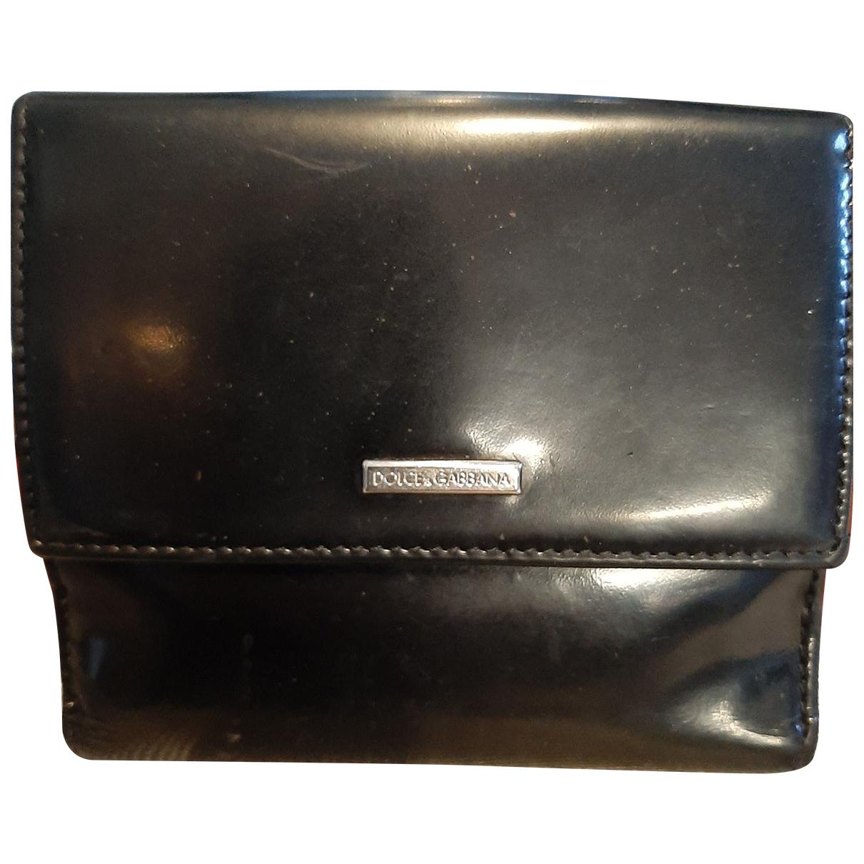 Dolce & Gabbana - Portefeuille   pour femme en cuir verni - noir