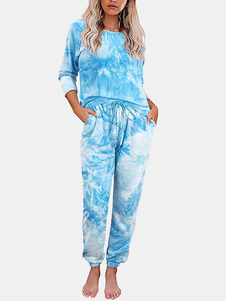 Tie-dye Printed Long Sleeve Tracksuit Two-pieces Homewear Sweatsuit