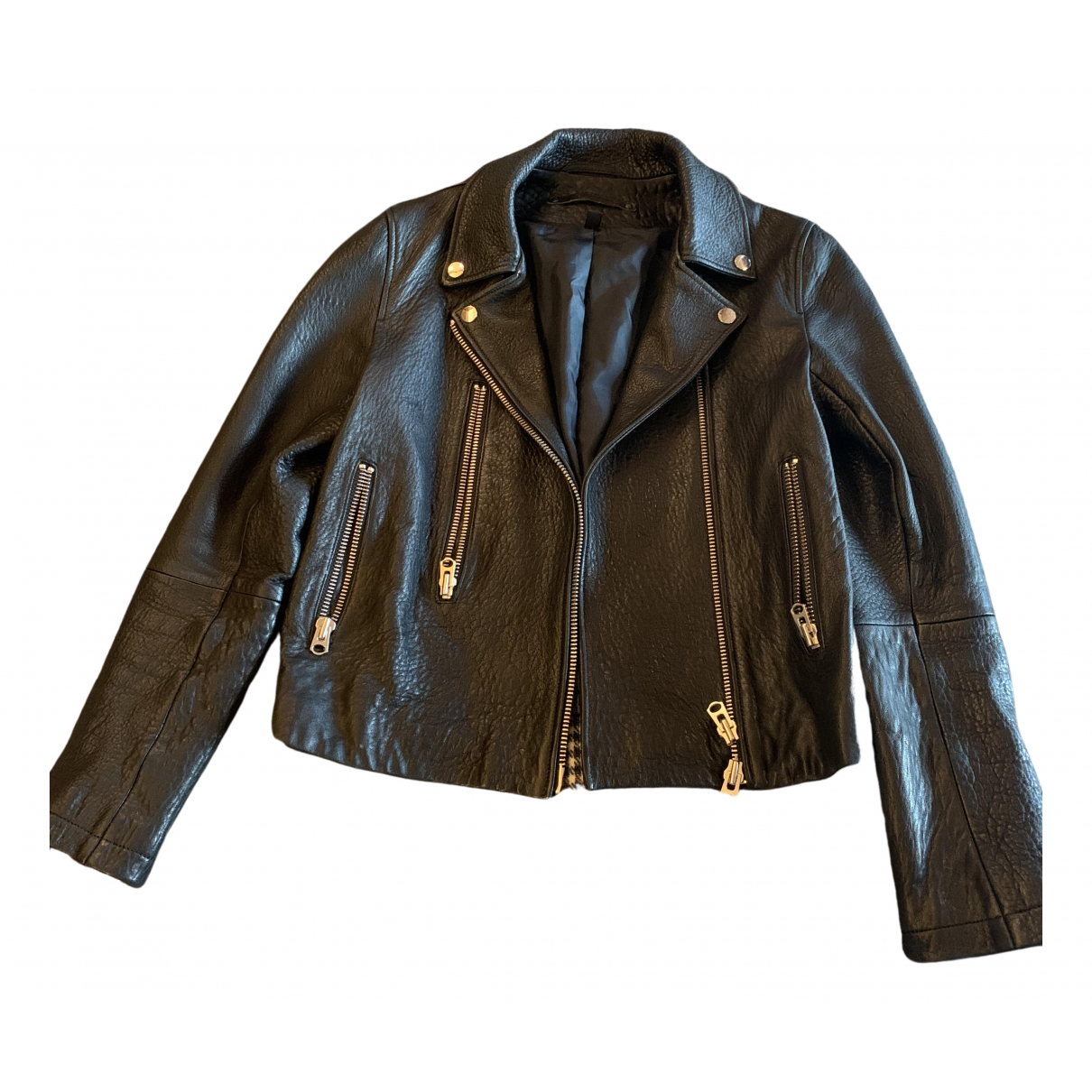 tophop Boutique N Black Leather Leather jacket for Women 36 FR