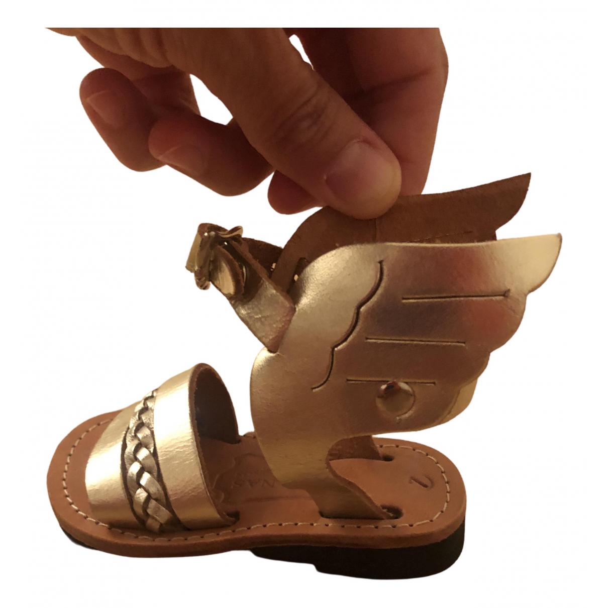 Ancient Greek Sandals \N Gold Leather Sandals for Kids 7 UK