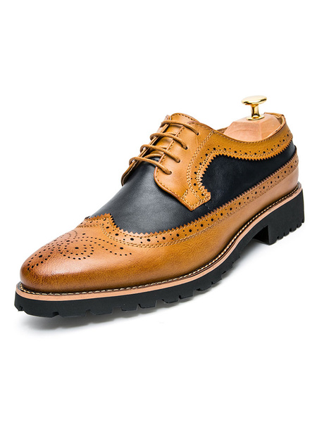 Milanoo Brown Brogue Shoes Round Toe Lace Up Dress Shoes Groom Shoes