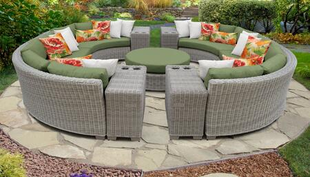 Coast Collection COAST-11b-CILANTRO 11-Piece Patio Set 11b with 2 Armless Chair   4 Cup Table   1 Round Coffee Table   4 Curved Armless Chair - Beige