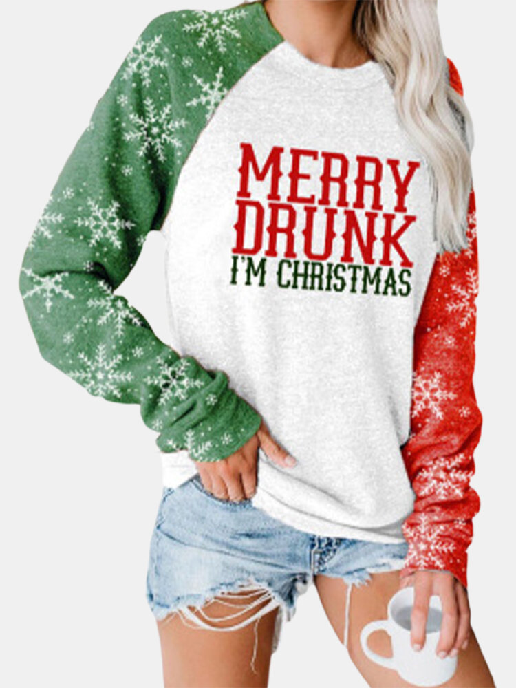 Merry Christmas Print Long Sleeves O-neck Casual Sweatshirt For Women