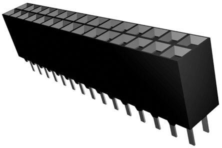 TE Connectivity , AMPMODU MOD II 2.54mm Pitch 30 Way 2 Row Straight PCB Socket, Through Hole, Solder Termination