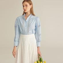 PREMIUM Bluse mit Knopfen vorn und Spitzen