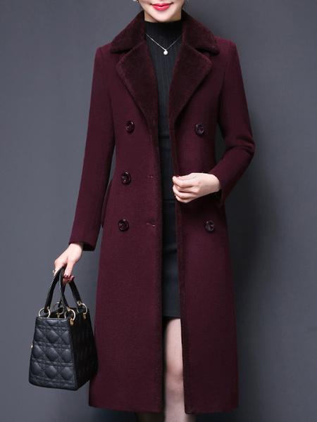 Milanoo Coat For Woman Turndown Collar Buttons Retro Coffee Brown Woolen Coat