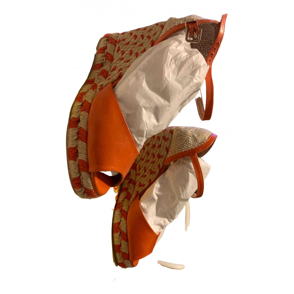 Castaner - Espadrilles   pour femme en cuir - orange