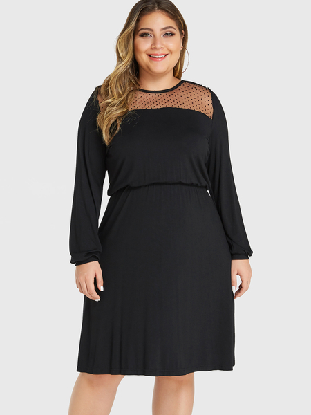 YOINS Plus Size Black Polka Dot Round Neck Long Sleeves Dress